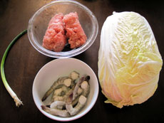 Napa cabbage shrimp pork dumpling ingredients